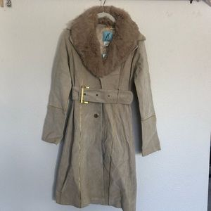 Marciano Jackets & Coats - Marciano suede and faux fur trim belted coat